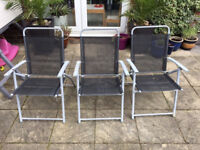 3 Deck chairs Dark Blue and Grey Used But Good Condition With Marks and Spots Garden Patio Barbeque