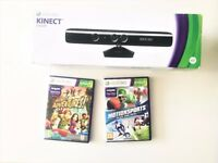Xbox 360 Kinect sensor with Kinect Adventures & MotionSports