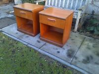 Large Retro Teak Pair of Bedside Cabinets by meredew