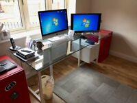 Stylish Glass-Top Office Desk & Draws