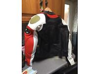 Hein Gericke power slide black/white/red leather motorcycle jacket size 52