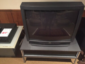 "JVC 30"" TV & TV Stand with Sliding Shelf & Kenwood DVD Player"