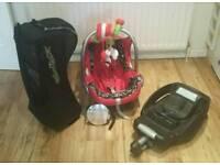 Maxi Cosi car seat, Isofix Base, Quinny Wheels, Rain Cover, Mobile & Rear view mirror.