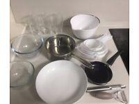Kitchen articles set: pot, frying pan, glasses, bowls, etc...