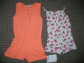 Bundle of 2 Sleeveless Summer Playsuits for Girl 6-7 years old. M&S and YD.