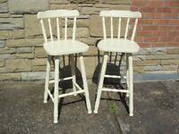 Shabby Chic Farmhouse Country Bar Stools /Chairs In Farrow & Ball Cream No 67