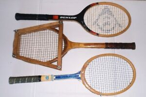 VINTAGE WOOD TENNIS RACKETS: EVERT, McENROE, DAIGNAULT-ROLLAND