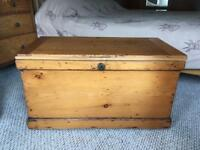 Victorian pine wooden trunk kist blanket box ottoman coffee table antique