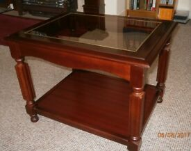 Polished, glass topped, occasional table