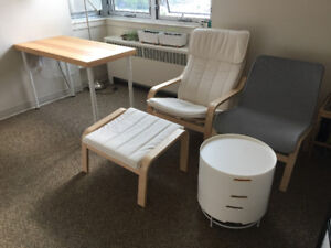 Selling Armchairs, Footstool, Coffee table and Desk.