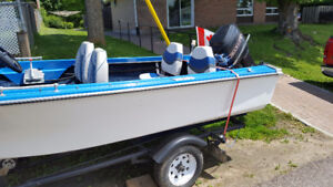 BOAT & TRAILER, 2 OUTBOARD MOTORS