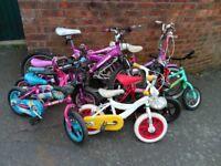 8 x children's bikes joblot