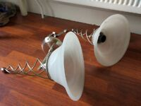 Pair (x2) stainless steel wall lights - as new
