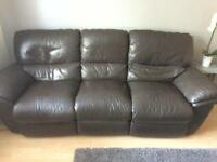 Leather 3 seater reclining brown sofa,needs to go.