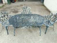 Vintage Cast Aluminium Large Garden Table and 3 chairs