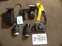 Nikon F301 Film camera with lenses and flash