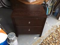 Wooden drawers with bedside table
