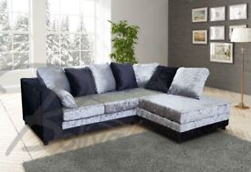 BLACK OR BLACK AND SILVER crushed VELVET sofa set IN 3+2 SEATER OR CORNER SOFA