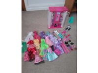 Barbie Vending Machine Wardorbe and various clothes and shoes