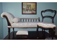 Set of 3- Vintage Recainer/Sofa, Chair, Footstool