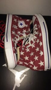 Pair of red-and-white star-printed Converse All-Star high