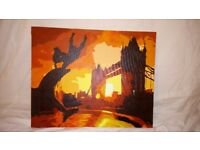 Original 'London sunset' acrylic painting on canvas