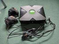 Original Xbox and 2 Controllers