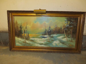 Vintage Oil Painting with Antique Frame