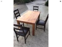Large Solid Kitchen Dining Table + 4 Chairs Walnut Brown Colour
