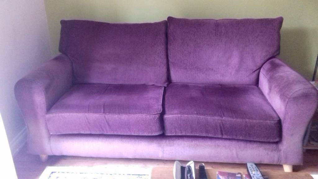 3 And 2 Seater Sofas In Plum Purple
