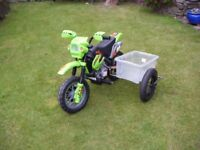 Kids Electric fun bike, with sidecar.