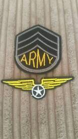 2 army sew on patches. badges