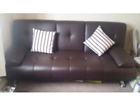 Brown Faux leather cinema sofa bed