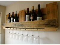 Handmade rustic wine rack with glass holder