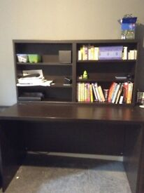 Desk and shelves in excellent condition. 2 desks available (£25each)and one set of shelves(£15)