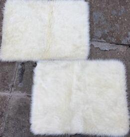 2 White Faux Fur Rugs