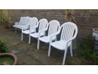 GARDEN CHAIRS... X4 WHITE.. V.G.C.. TOP QUALITY