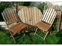 Rayburn- Teak 'Patio collection' Table & Folding Chairs