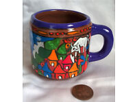 hand painted pottery cup