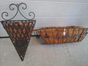 Wrought Iron Wall-mount planter, 4 Window Boxes