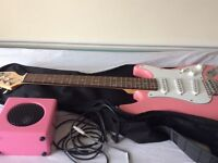 pink guiatar and amp