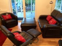 Sofa**Black leather four piece suite**