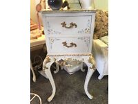 Beautiful french style 2 drawer unit on cast iron legs.