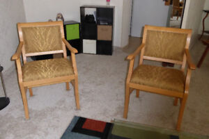 A Pair of Wooden Arm Chairs - NEW PRICE