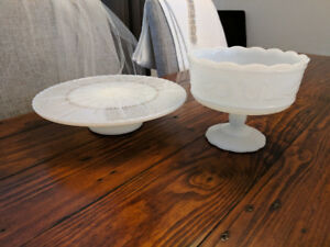 ***Vintage Milk Glass Cake Stand and Compote***