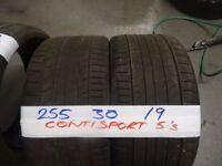MATCHING PAIR 255 30 19 CONTISPORT 5s 5-6MM TREAD £90 PAIR £150 SET SUPP & FITD (loads more av}