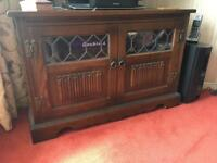 Old charm TV cabinet solid oak - medium colour