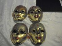 1980s brass wall mounted faces