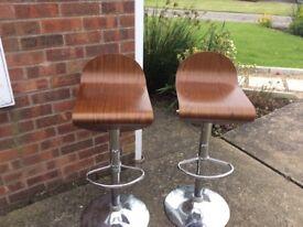 modern chrome bar stools x 2 collect LN12