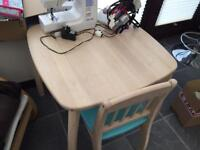 Kids wood table and two chairs